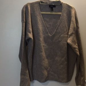 Choker V neck rib knit sweater